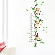 Wall Measuring Chart Us 2 63 34 Off Zoo Yoo Playing Jungle Monkey Tree Height Wall Art Stickers Nursery Decor Kids Height Chart Measure In Wall Stickers From Home