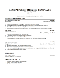 Receptionist Resume Resume Cover Letter Template
