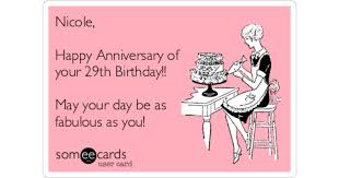 nicole happy anniversary of your 29th birthday may your day be as fabulous as you birthday ecard