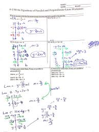 equations of parallel and perpendicular lines worksheet with