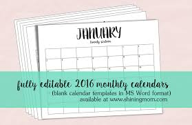 Editable 2015 2020 Calendar Just In Fully Editable 2016 Calendar Templates In Ms Word