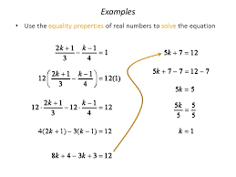 97 examples use the equality properties of real numbers to solve the equation