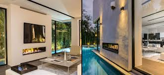 modern indoor and outdoor gas fireplace