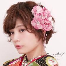 髪飾り 2点セット ピンク 椿 花 コサージュ 女の子 七五三 3才 7才