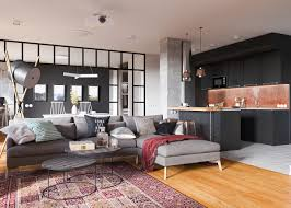Bachelor Room Minimalist Studio Apartment Design Applied With A Gray And Wooden