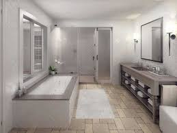 bright bathroom interior with charming led lights plus paired with long narrow bathtub and vanity feat under mount sink over marble tiles flooring