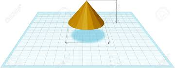 Drawing In 3d Orange Geometric Cone At Graph Paper Stock Photo