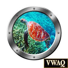sea turtle c reef 3d porthole vinyl wall decal underwater wall art l and stick mural wall art portal art sp31