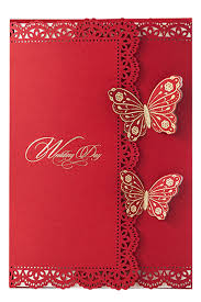 red laser cut wedding invitations in artistic fl border design and beautiful erfly decorations beautify