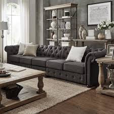 Knightsbridge Dark Grey Oversize Extra Long Tufted Chesterfield Modular  Sofa by iNSPIRE Q Artisan | Overstock