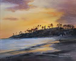 karen winters laa beach main beach sunset oil painting