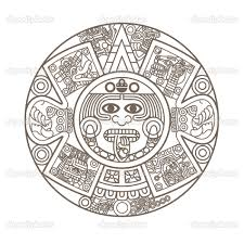 Aztec Calendar Coloring Page Tattoo