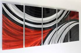 modern abstract metal wall art painting red black silver home decor by jon allen