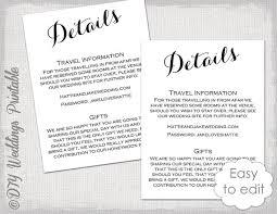 Wedding Enclosure Card Template Wedding Details Enclosure Template Diy By Diyweddingsprintable