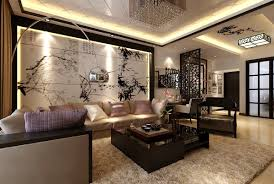 Interior:Modern Living Room Decor Meet Chinese Style Wall Art And Modern  Arch Lamp Inspiring