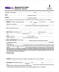 Rental Agreement Form Ontario Sample Lease Agreement Forms 8 Free