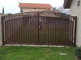 vinyl fence double gate. Wrought Iron Double Gate - Semi- Privacy Vinyl Fence