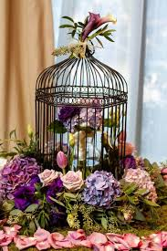 Decorations: Astonishing Birdcage Centerpiece With Purple Floral Accents  Inspiration Birdcage Centerpiece Image Birdcage Centerpiece Image