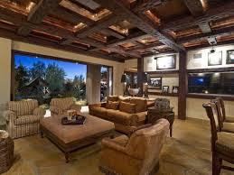 ... Stunning Home Interior With Beam Ceiling Ideas : Shocking Design Ideas  Using Brown Suede Love Seats ...