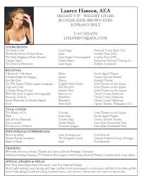 musical audition resume sample audition resumes musical theatre examples example theater