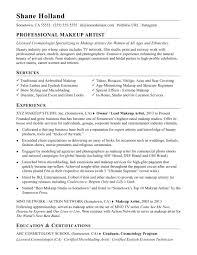 makeup artist resume sle
