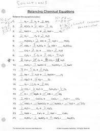 balancing types of reactions balancing chemical equations 49 balancing chemical equations worksheets