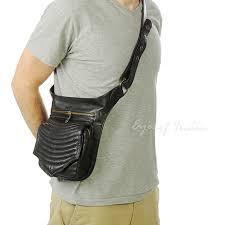 black or brown leather pocket belt bag cross waist hip bag travel pouch