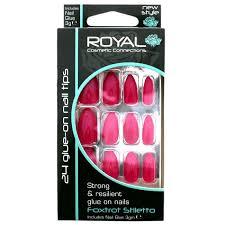 Royal červené Jasné Umělé Nehty 24 Glue On Nail Tips Nails Sada 24ks S Lepidlem Foxtrot Stiletto