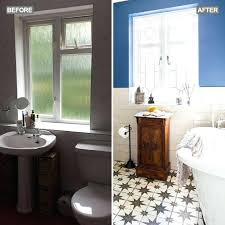 sink next to bathtub before and after a bold blue paint fills this bathroom with colour sink next to bathtub