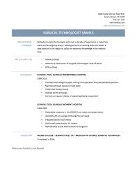 Surgical Tech Resume Sample