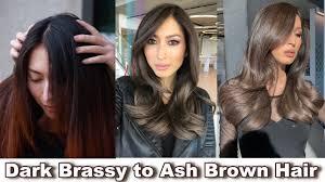 Black To Light Brown Hair Tutorial Perfect Ash Brown For Dark Hair