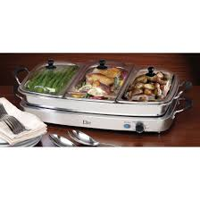 elite triple deluxe buffet server and warming tray