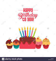 Happy Birthday Card With Cupcakes And Cake With Candles Icon Over