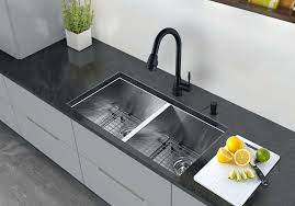 blanco double bowl stainless steel undermount kitchen sink brushed contemporary equal kraus 50 5 kraus 33 inch undermount