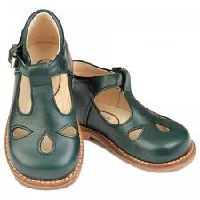 dark green t bar leather shoes for girls and boys