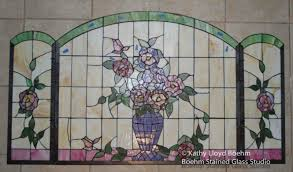 vase of flowers stained glass fire screen repair