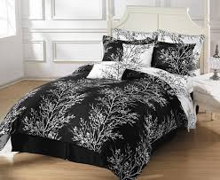 fetching bedroom decoration with black white duvet covers design gorgeous bedroom decoration ideas using leaves