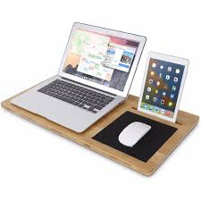 lifewit bamboo lap desk board multi tasking laptop tablet with cellphone stand holder and built