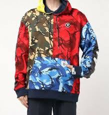 Aape Hoodie Size Chart A Bathing Ape Mens Aape Pullover Hoodie Mix Camo New Ebay