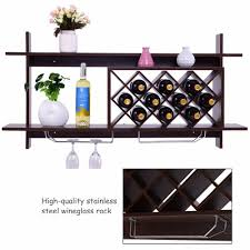 goplus wall mount wine rack organizer with glass