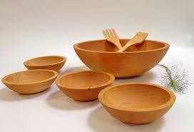 large wooden salad bowl set 15 inch maple set