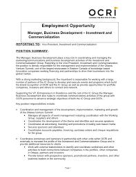 ... Business Development Job Description. Employment Opportunity Manager,  Business Development  Investment and Commercialization ...