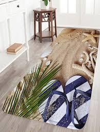 beach shoes starfish flannel skid resistant bath rug sand yellow w16 inch l47 inch