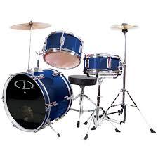 gp percussion gp50bl complete junior drum set blue 3 piece set