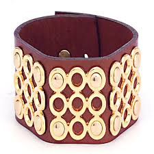 brown gold circular accent leather cuff bracelet