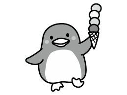 アイスクリームを持ったペンギンの白黒イラスト かわいい無料の白黒