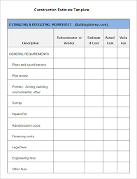 construction estimate sample 5 construction estimate templates free word excel pdf