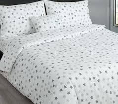 grey and white stars single bedding striped