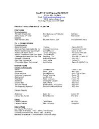 resume matthew grace cinematographer here is my official resume