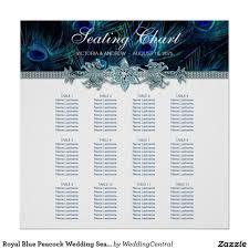 Royal Blue Peacock Wedding Seating Chart Zazzle Com